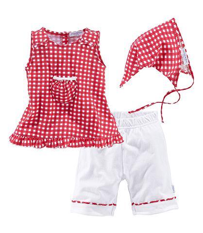 Klitzeklein Klitzeklein Šaty, kalhoty a šátek červená/bílá - standardní velikost 98