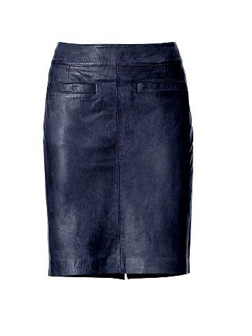 ASHLEY BROOKE Kožená sukně námořní modř 40