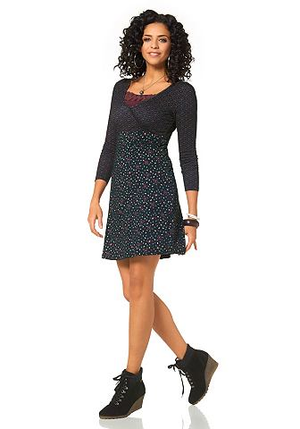 BOYSEN'S Boysen's Úpletové šaty černá s potiskem - standardní velikost 48