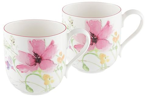 Villeroy & Boch Šálek na kávu, Villeroy & Boch »květinový dekor« (2 ks) bílá, s barevným květinovým motivem