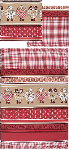 """Ecorepublic Home Ložní prádlo, Ecorepublic Home """"ovečky"""" červená/béžová - 1 ks 80 x 80 cm - biber 1 ks 155 x 220 cm"""