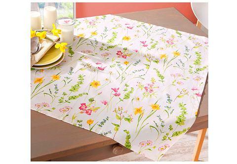 Ubrus bílá-květinový potisk - Textilní prostírání
