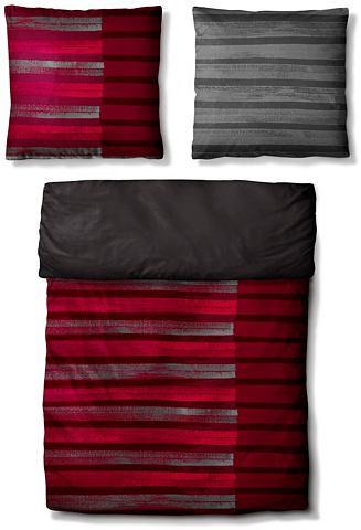 Auro Hometextile Ložní prádlo, Auro, »Raquel« vínově červená/antracitová - 1x 80x80 cm - satén 1x 155x220 cm