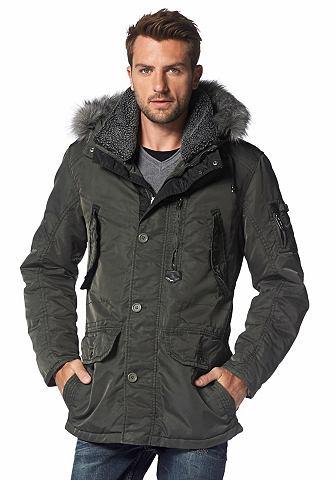 Bruno Banani Zimní dlouhá bunda olivová - normální velikost L (52)