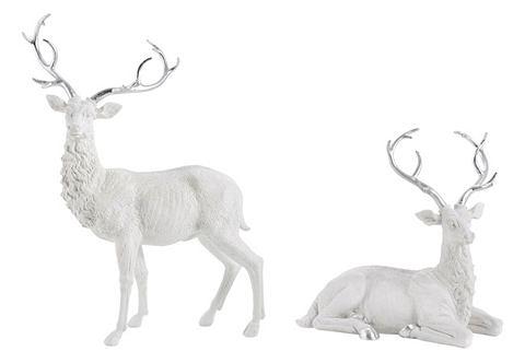 Figurky jelenů bílá-barva stříbra - ležící