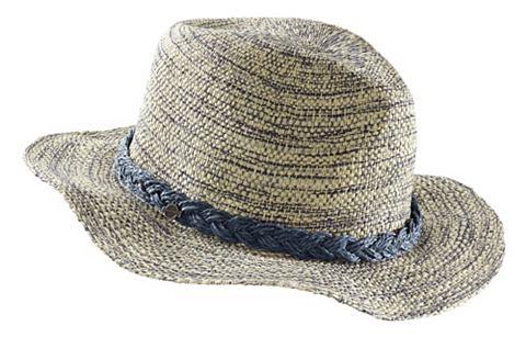 SEEBERGER Slaměný klobouk modrá/písková