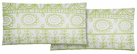 Home Affaire Collection Potah na polštář, Home affaire Collection, »Garden«, v kombinaci květů zelená/bílá - žerzej 1 ks 40x80 cm
