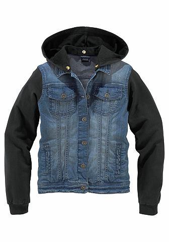 Arizona Arizona Džínová bunda s rukávy a kapucí z bavlny, pro dívky modrá denim-černá - standardní velikost 182
