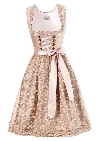 Krojové šaty v midi délce s tylovou zástěrkou, Marjo šampaňská 34