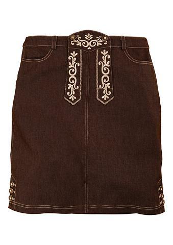 Krojová sukně s vyšívaným laclem