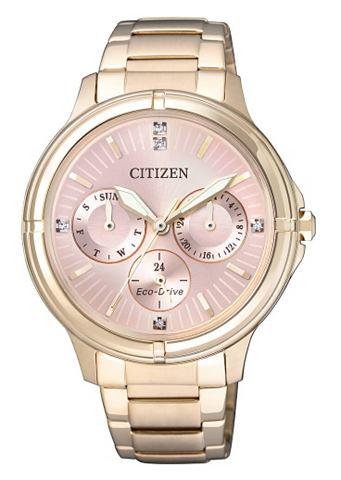 Citizen Multifunkční hodinky Citizen se Swarovski krystaly »FD2033-52W« zlatá