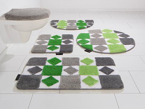 Bruno Banani Koupelnový kobereček, 3-dílná souprava pro závěsné WC, Bruno Banani, »Radasta«, výška 20 mm, protiskluzová úprava fialová - 20 mm 12 (3ks před závěsné WC )