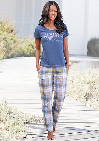 Arizona Pyžamová souprava (3-dílná), Arizona smetanová/modrá/kostková 56/58