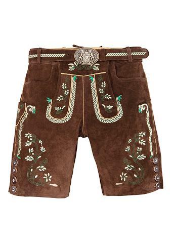 Krátké pánské krojové kožené kalhoty s vyšívanými prvky, Country Line