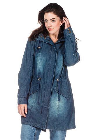sheego Trend Džínový kabát s kapucí