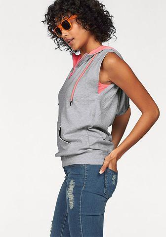 Kangaroos® KangaROOS Tričko s kapucí a top šedá-melírovaná-neonoranžová - standardní velikost 36/38 (S)