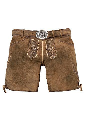 Krátké dámské krojové kožené kalhoty s páskem, Country Line