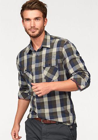 S.oliver red label s.Oliver Kostkovaná košile khaki-tmavě modrá-kostková - standardní velikost XL (43/44)