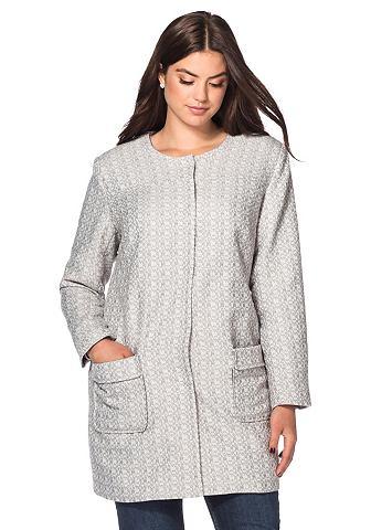 sheego Style sheego Style Bouclé kabát vlněná bílá-světle šedá 40