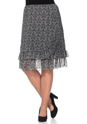 sheego Style sheego Style Šifónová sukně šedohnědá/meruňková + bílá 40