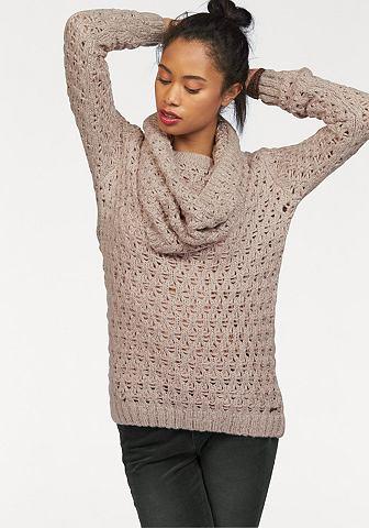 Kangaroos® KangaROOS Pletený pulovr a šála béžová/růžová/zlatavá - standardní velikost 32/34(XS)