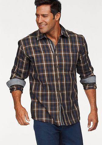 Man's world Man's World Kostkovaná košile hnědá/modrá - standardní velikost XL (43/44)