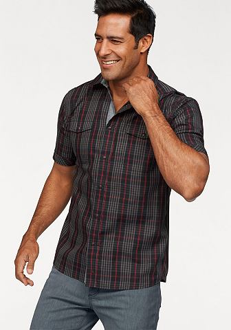 Man's World Man's World Košile s krátkým rukávem černá/červená károvaná - standardní velikost XL (43/44)