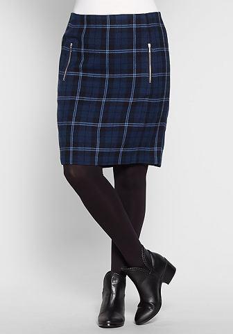 sheego Casual Kostkovaná sukně na zip