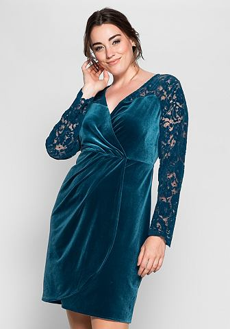 sheego Anna Scholz Sametové šaty v zavinovacím vzhledu