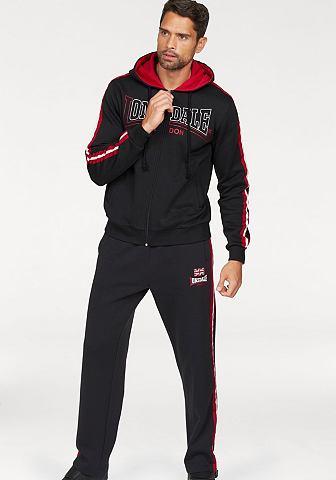 Lonsdale Lonsdale souprava na běhání »Hooded Fleece« černá/červená - standardní velikost XXL (60/62)
