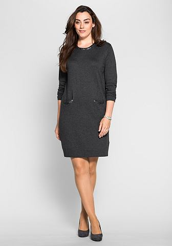 sheego Style sheego Style Pletené šaty s flitry antracitová 40