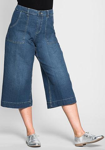 sheego Denim Džínová kalhotová sukně s dvěma kapsami