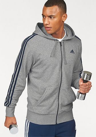 adidas Performance Mikina s kapucí »ESSENTIALS 3 STRIPES FULLZIP HOODY FRENCH TERRY«