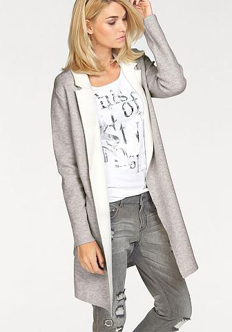 Laura Scott Laura Scott Dlouhý pletený svetr šedá/vlněná bílá - standardní velikost 32/34