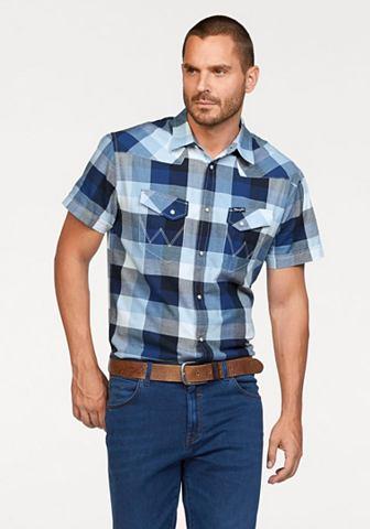 Wrangler Wrangler Košile s krátkými rukávy modrá-bílá kostkovaná - standardní velikost XXL (43-44)