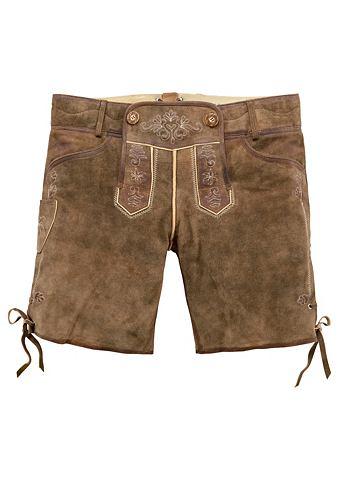 Country Line Krojové kožené kalhoty krátké s vyšívanými detaily