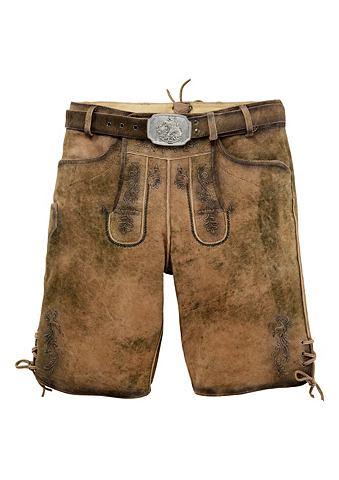 Marjo Pánské krátké kožené krojové kalhoty s dekorativní páskovou sponou