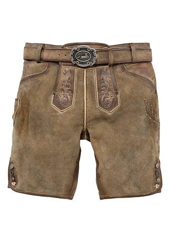 Country Line Krojové kožené kalhoty krátké v ležérním obnošeném vzhledu