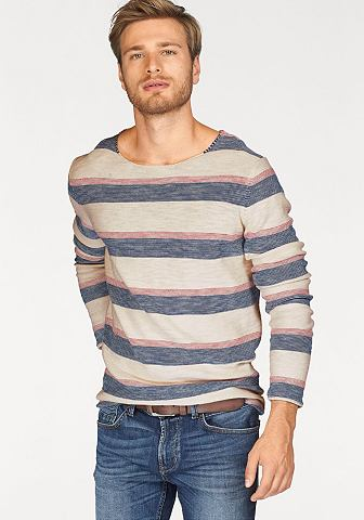 Tom Tailor Denim Tom Tailor Denim pulovr s kulatým výstřihem modrá/režná/červená s proužky - standardní velikost XL (52/54)