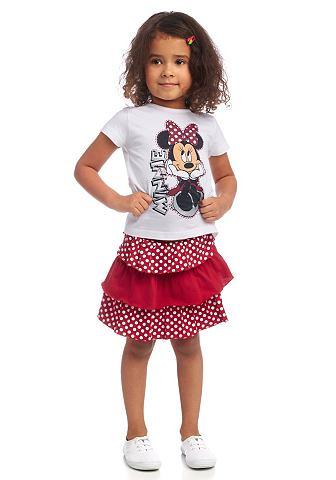 DISNEY Disney Tričko a sukně »Minnie Mouse« (Souprava, 2-dílná) bílá+červená - standardní velikost 128/134