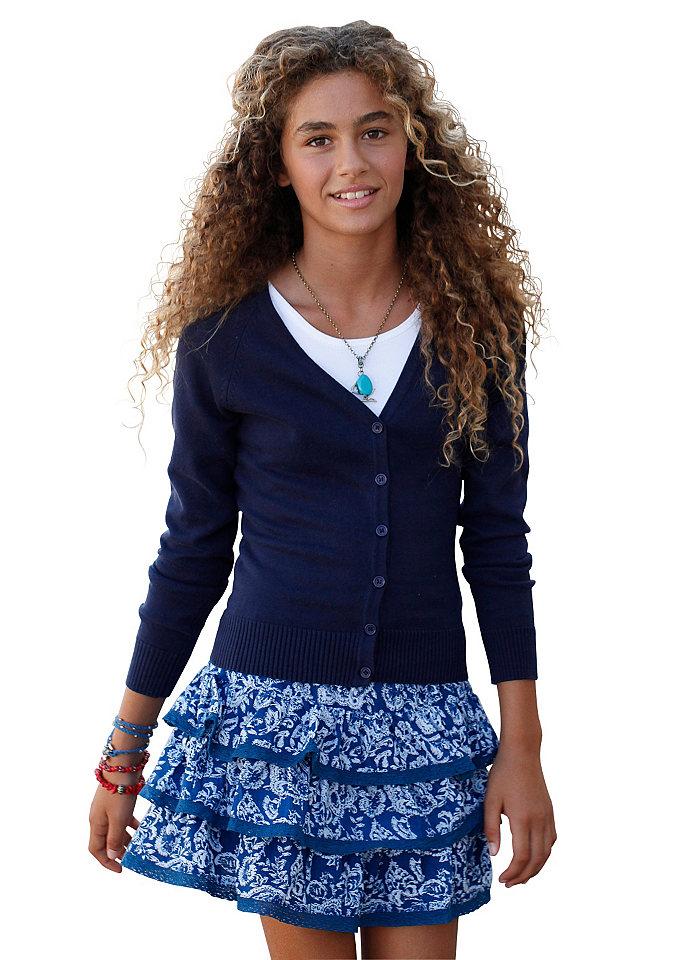 CFL, кардиган для девочек OttoКуртки и пальто<br>Идеальная модель для комбинирования! С классической планкой застёжки на пуговицы и V-образным вырезом. 100 % хлопка.<br><br>Size DE: 140<br>Colour: синий<br>Age: Детский<br>Material: Верх: 100% хлопок