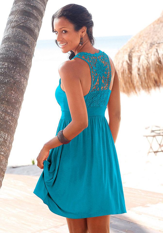 Платье для пляжа OttoПлатья и Юбки<br>Милая вставка из кружева вязки крючком сзади и широкая окантовка под линией груди. Длина ок. 90 см. Из 95 % вискозы, 5 % эластана. Кружево из 100 % хлопка.<br><br>Size DE: 42<br>Colour: синий<br>Gender: Женский<br>Age: Взрослый<br>Material: Кружево: 100% хлопок;Верх: 95% вискоза / 5% эластан
