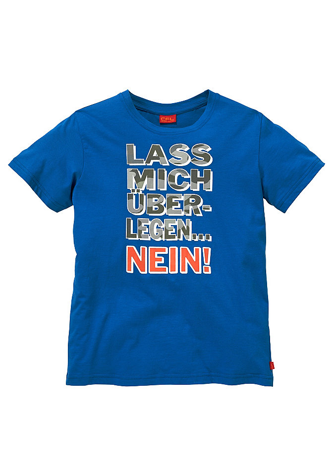 Футболка для мальчиков «Lass mich ?berlegen....NEIN» («Дай подумать... НЕТ») OttoФутболки и поло<br>Дерзкий принт в виде надписи. Мягкое одинарное джерси из 100 % хлопка.<br><br>Size DE: 140<br>Colour: синий<br>Gender: Мужской<br>Age: Детский<br>Material: Верх: 100% хлопок
