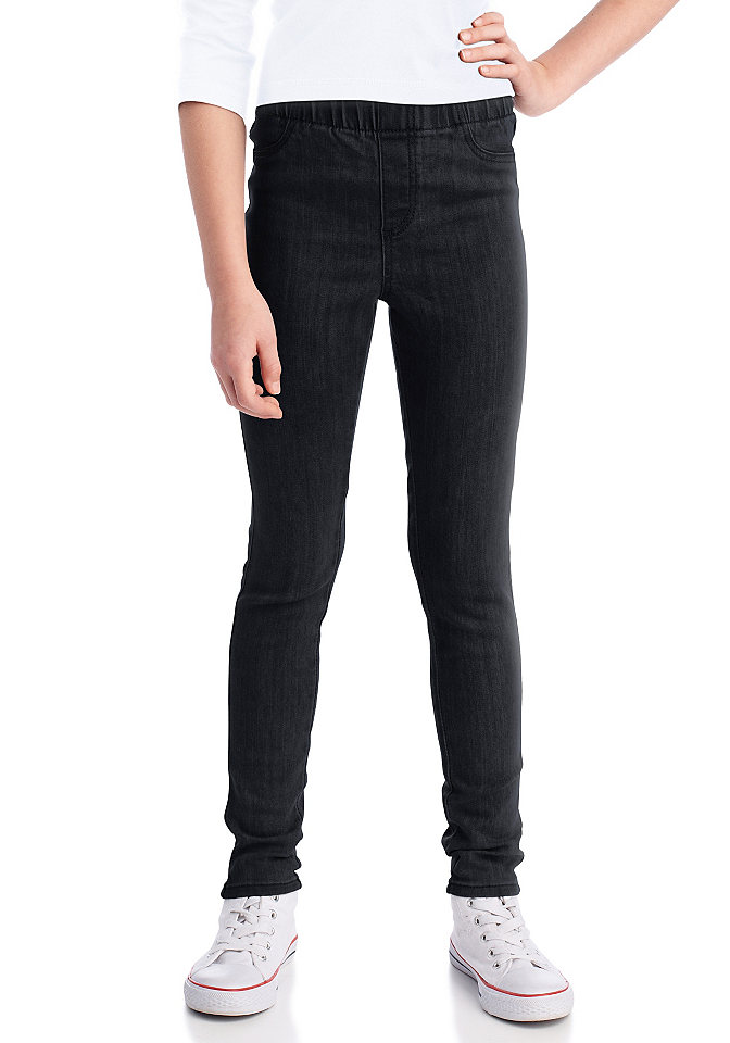 Джеггинсы о OttoБрюки и джинсы<br>Очень удобная модель с накладными задними карманами и декоративной отстрочкой спереди. Синий и омаровый цвета: 98 % хлопка, 2 % эластана. Цвета синий «варёный» и серый деним: 70 % хлопка, 27 % полиэстера, 3 % эластана.<br><br>Size DE: 176<br>Colour: черный<br>Age: Детский<br>Material: Верх: 98% хлопок / 2% эластан