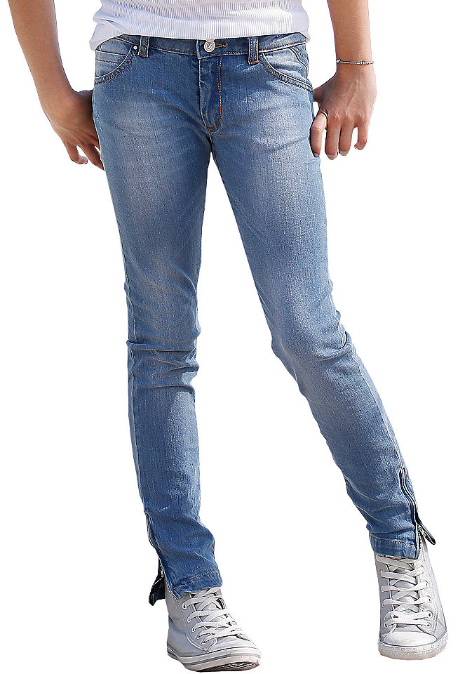 Джинсы с застёжками-молниями для девочек OttoБрюки и джинсы<br>Узкий покрой с 5 карманами. Застёжки-молнии по нижнему краю и модная расцветка. Пояс регулируется с внутренней стороны до размера 146, застёжка на кнопку – до размера 134. Деним-стретч из 98 % хлопка, 2 % эластана.<br><br>Size DE: 134<br>Colour: синий<br>Age: Детский<br>Material: Верх: 98% хлопок / 2% эластан