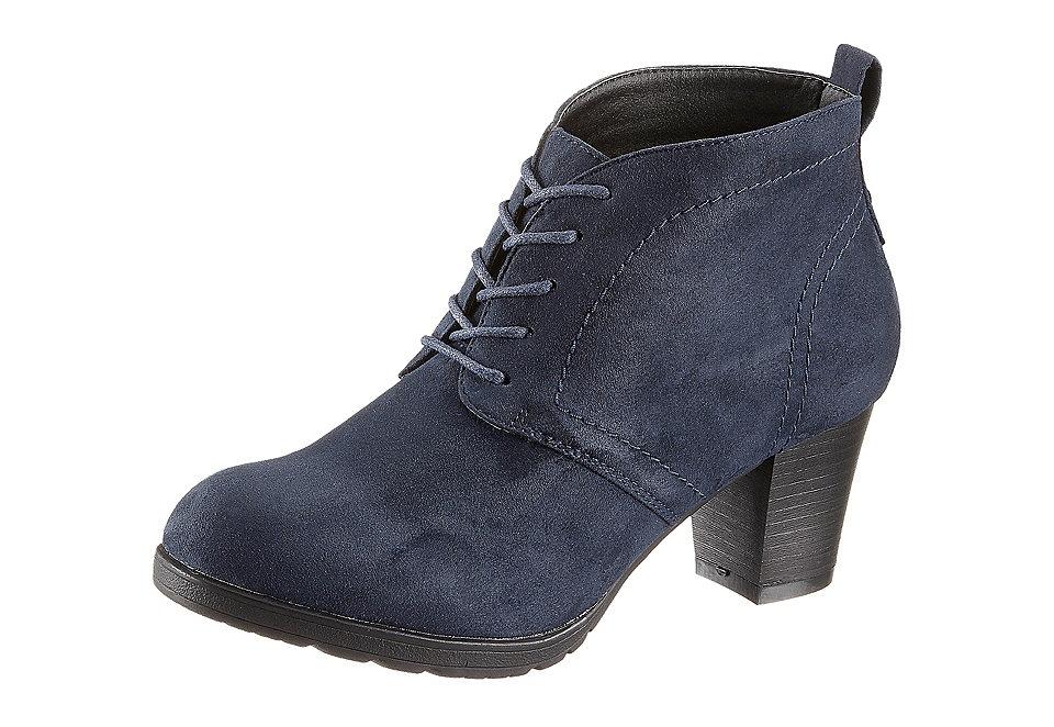 Ботильоны OttoСапожки<br>Ботильоны на шнуровке City Walk из текстиля с отделкой под велюр. Подкладка и стелька выполнены из текстиля, подошва — из синтетического материала. Высота каблука — 55 мм, полнота модели — F (средняя).<br><br>Size DE: 39<br>Colour: синий<br>Gender: Женский<br>Age: Взрослый