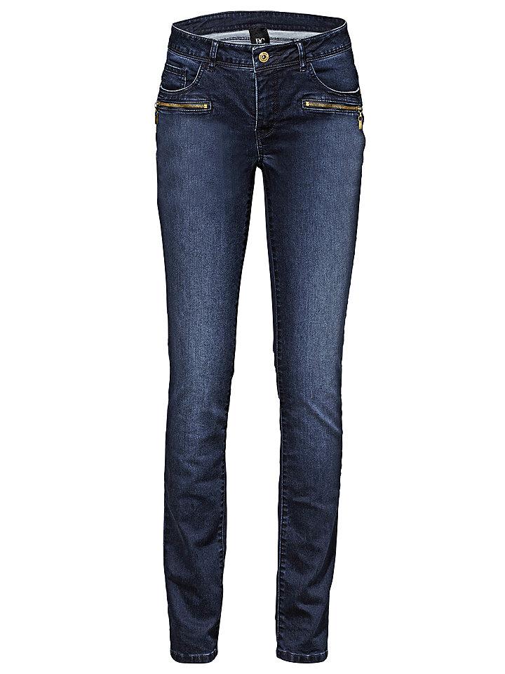 Джинсы OttoДжинсы «дудочки»<br>Женственная блуза облегающего кроя с глубоким вырезом, декорированным изящным воланом из джерси, и длинными рукавами с высокими манжетами. Длина для размера 38 около 64 см. Состав: 100% вискоза. Рекомендуется машинная стирка.<br><br>Size DE: 25<br>Colour: синий<br>Gender: Женский<br>Age: Взрослый<br>Material: Верх: 65% хлопок / 33% полиэстер / 2% эластан