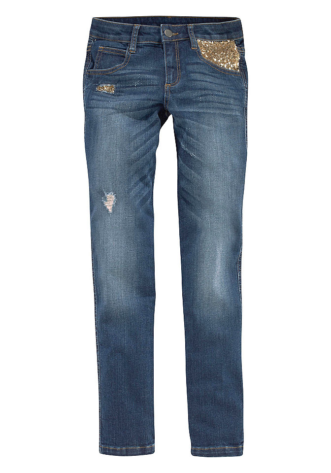 Джинсы Paillette OttoБрюки и джинсы<br>Материал верха: 98% хлопок, 2% эластан.<br><br>Size DE: 152<br>Colour: синий<br>Gender: Женский<br>Age: Детский<br>Material: Верх: 98% хлопок / 2% эластан