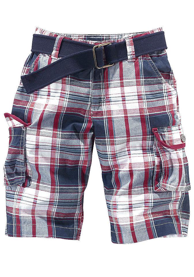 Комплект: бермуды + ремень OttoБрюки и джинсы<br>Бермуды: однотонные или в клетку, модные окантованные карманы в стиле карго, высококачественный прочный материал. Регулируемый внутри пояс, на практичной кнопке до размера 134. Длина до середины колена. Ремень из текстиля.<br><br>Size DE: 164<br>Colour: синий<br>Gender: Мужской<br>Age: Детский<br>Material: Верх: 100% хлопок