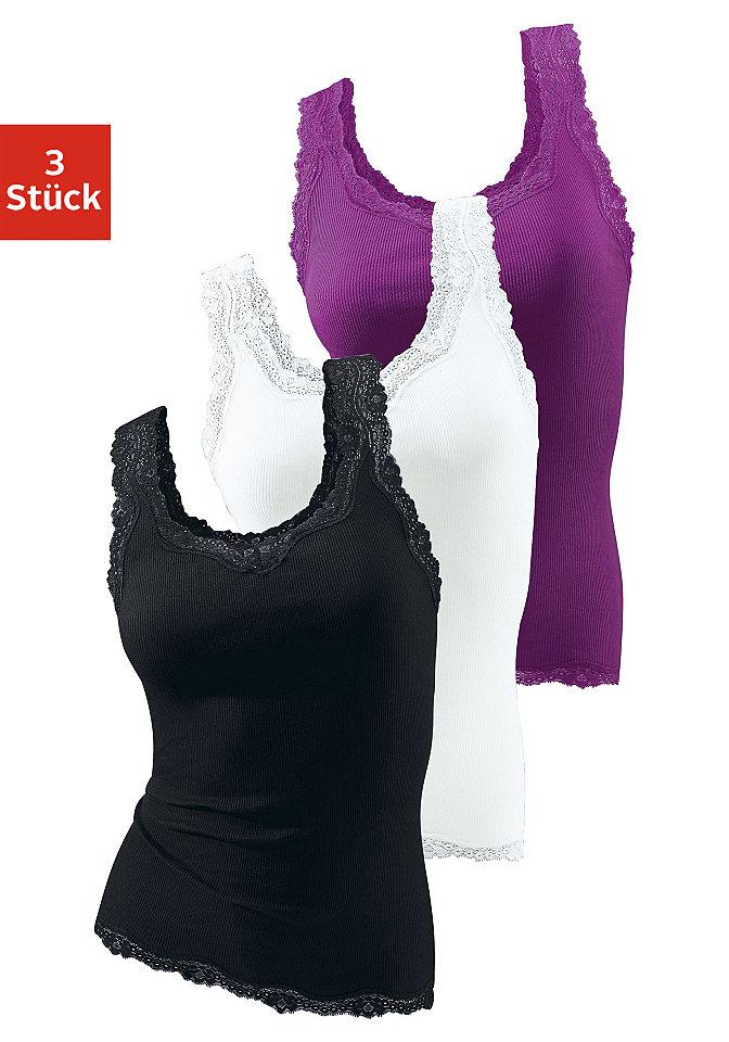 Майка, H.I.S. Underwear (3 шт.) OttoФутболки<br>Рубчик двух различных видов: мелкий или двойной. Красивый круглый вырез. Высококачественное кружево на вырезе, проймах и по нижнему краю. Слегка приталенный покрой. Длина ок. 63 см. Мягкий материал из чистого хлопка.<br><br>Size DE: 40<br>Colour: Комплект расцветок<br>Gender: Женский<br>Age: Взрослый<br>Material: Верх: 100% Baumwolle_(unterst?tzt_Cotton_made_in_Africa)